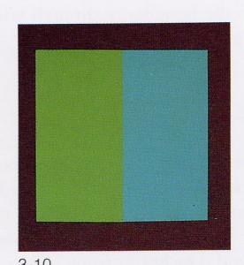 Efecto Liebman. Dos planos de color verde y cian, situados a distinta profundidad, parecen asumir el mismo plano espacial.