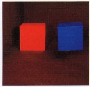 Dos cubos de igual tamaño y luminosidad, con tono azul y rojo respectivamente. Cuando están lineados en un plano horizontal, hay una fuerte tendencia a que el cubo rojo avance respecto al azul. El fenómeno es aún mayor si el cubo azul se ubica más elevado.