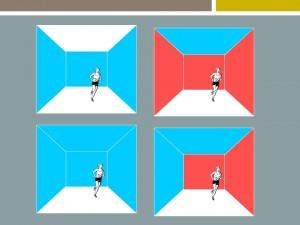 """El empleo de colores rojos y azules en el interior de un espacio altera la percepción de sus dimensiones según su disposición. El color introduce cierta tensión en la """"caja espacial""""."""