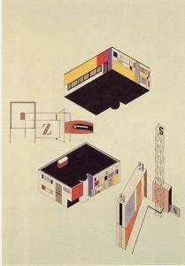 Planos de color de las fachadas de un edificio. Franz Ehrlich, estudiante de la Bauhaus en el taller de Joost Schmidt,  Dessau (Alemania), 1928.