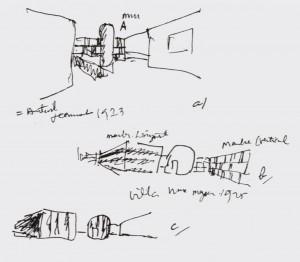 Boceto para la casa de papeles pintados Salubra, serie Marmol. Le Corbusier, 1932.