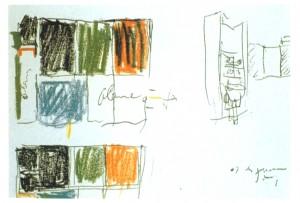 Boceto para cabaña. Le Corbusier.
