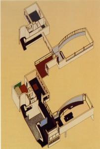 Casa La Roche-Jeanneret, axonometría y sala de exposiciones. Le Corbusier, París, 1923-1925.