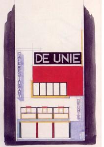 Alzado coloreado del Café de Unie, J.J.P.Oud, Rotterdam, 1925.
