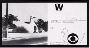 """""""The long island duckling"""" en Aprendiendo de las Vegas: El simbolismo olvidado de la forma arquitectónica. Robert Venturi, Dennis Scott Brown et alt., Cambridge, 1972."""