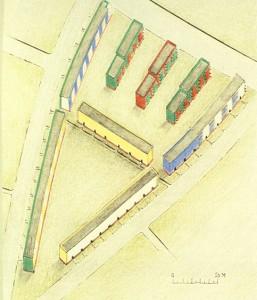 """Siedlungen Onkel Tom's Hutte, fase VII, """"sector triangular"""", B. Taut, Zehlendorf (Alemania), 1931-1932"""