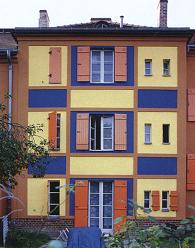 Fachada de las viviendas de la colonia Falkenberg  en Berlín Grünau, B. Taut, 1913-1934.