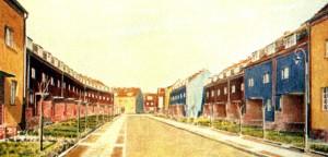 .  Postal coloreada de las iviendas de la colonia Falkenberg  en Berlín Grünau, B. Taut, 1913-1934.