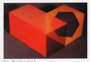 Tres cubos en el espacio parecen disolver su geometría mediante una determinada disposición cromática.