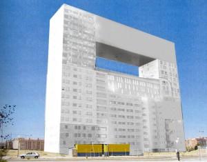 Edificio Residencial Mirador. MVRDV, Madrid, 2004. Simulación fotográfica eliminando los colores,