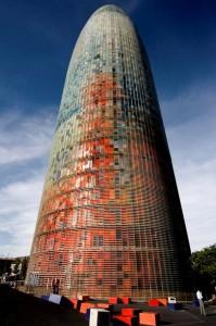 Torre AGBAR. Jean Nouvelle, Barcelona, 2005. Aspecto diurno.