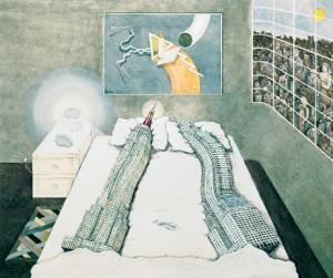 Flagrant Dèlit, portada para del libro de Rem Koolhaas Delirious New York, Madelon Vriesendorp, 1975.