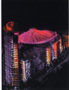 Helmut Jahn´s Sony Centre. Yann Kersale´s, Berlin. Dibujo de concepto .