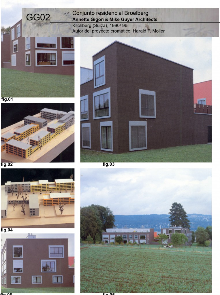 Conjunto residencial Broëlberg Annette Gigon & Mike Guyer Architects Kilchberg (Suiza), 1990/ 96. Autor del proyecto cromático: Harald F. Moller